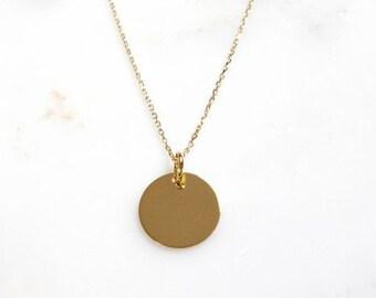Collier avec pendentif médaille en plaqué Or ou argent 925, pendentif  cercle - pastille ronde e9ee5d32330