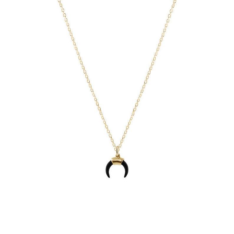 5f2232688c2 Collier pendentif corne Collier croissant de lune or