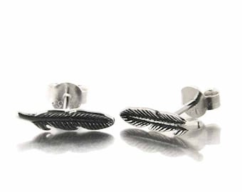 Earrings - studs 925 sterling silver feather