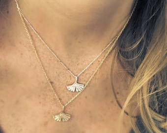 925 sterling silver or gold plated ginkgo leaf pendant necklace