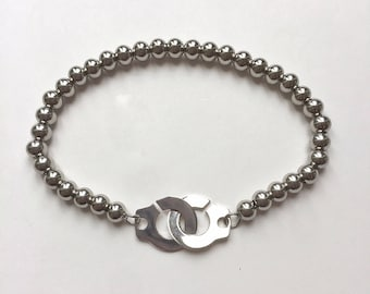 Made of 925 sterling silver and steel handcuff bracelet