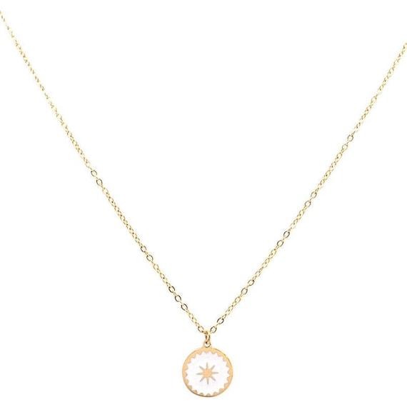 Bracelet petite Etoile en acier inoxydable Blanche//Dor/ée M/édaille /étoile /émaill/ée
