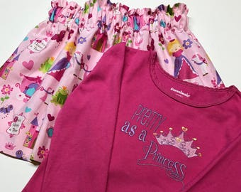 Girls princess girls skirt and shirt
