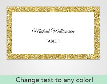 Silver Glitter Wedding Place Cards Template For Microsoft Word - Wedding place cards template for microsoft word