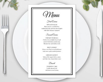 Wedding Menu Template for Microsoft Word Printable Instant