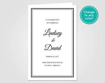Wedding Ceremony Program Folding Template for Microsoft Word • Printable Digital File • Catholic • DIY Easy Instant Download • Black Script