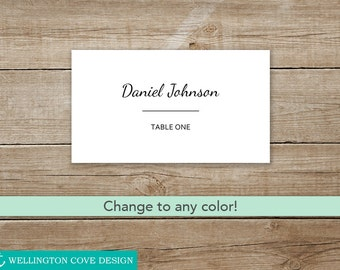 3.5x2 Flat and Folded Cards Beatrice Script Placecard Printable Script Place Cards Templates Wedding Escort Cards Customizable Color