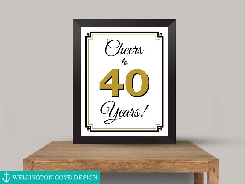 Saludos a 40 años para imprimir signo oro 40 cumpleaños