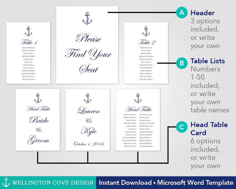Nautical Wedding Seating Chart Template \u2022 Vintage Anchor Table Lists \u2022 Place Cards Alternative \u2022 Microsoft Word \u2022 Navy Digital Printable