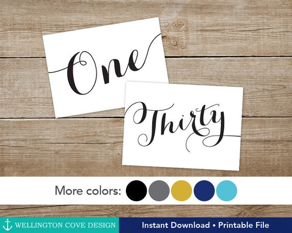 Printable Calligraphy Table Numbers 1 30 Instant Download Etsy