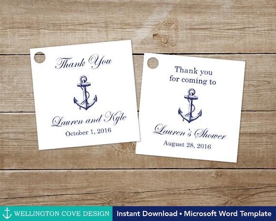 Printable Nautical Favor Tags Editable Template For