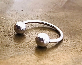 Double ball sterling silver ring open silver ring adjustable ring gift for her two side ball
