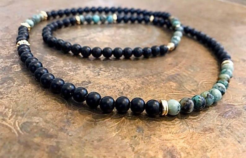 Boho Necklace Black Bead Necklace Unique Bead Necklaces Beaded Necklace Men Onyx Necklace Fashion Beads Necklace Tribal Jewelry Men