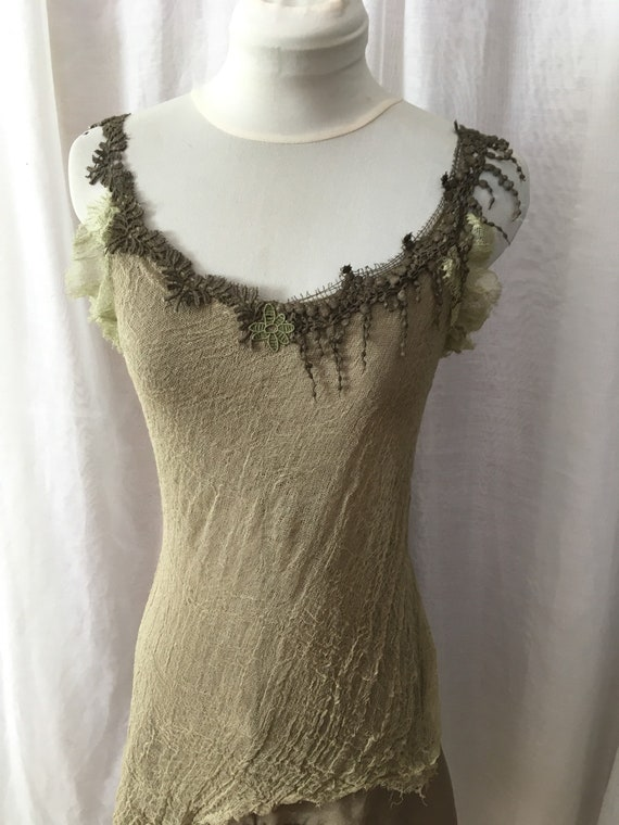 cotton dress forest gipsy fairy cosplay fantasy green Olive dress flower plantdyed medieval pixie organic fairytale summer dress nymph qt8vS0n