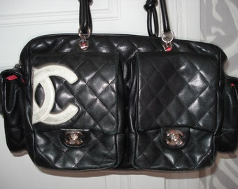 Chanel Cambon black quilted leather bag