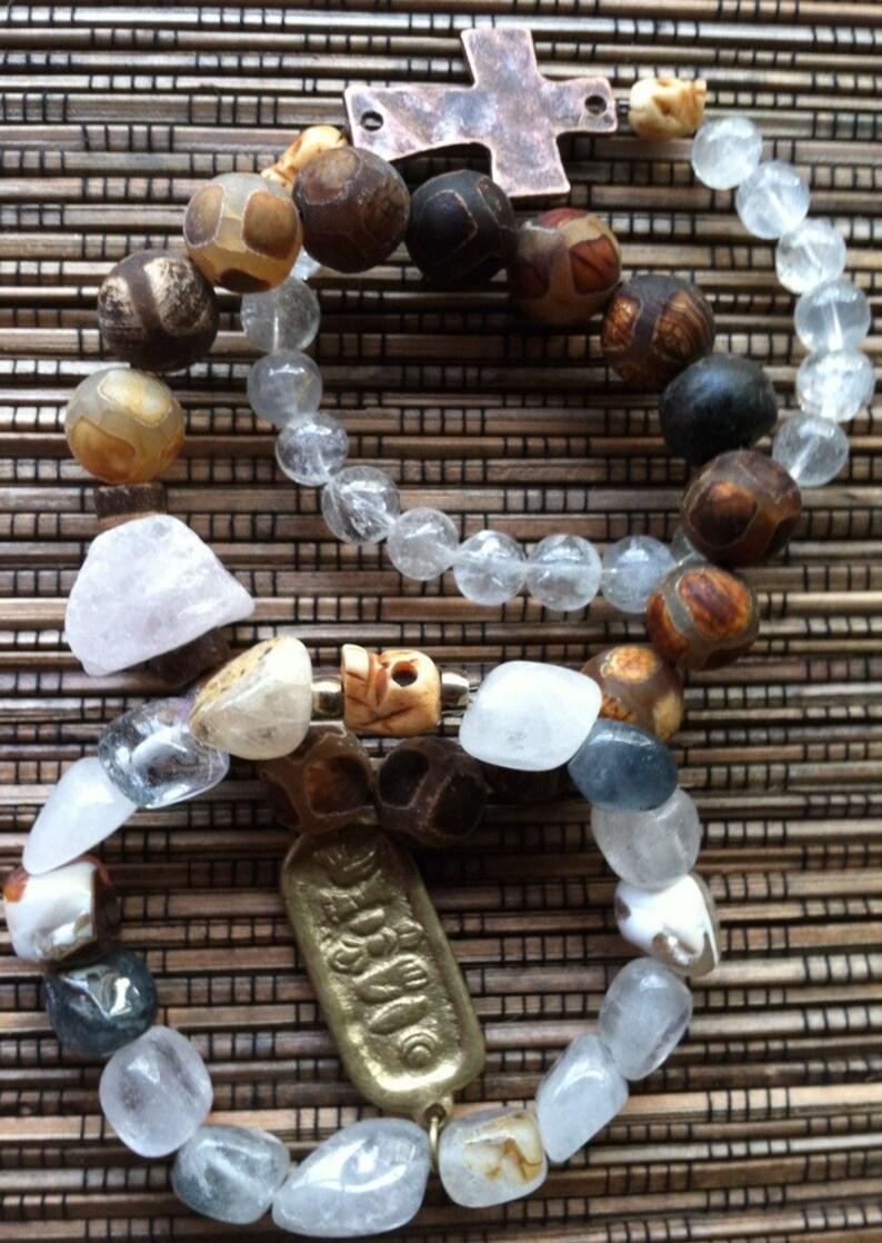 Custom Tibet Nepal Himalayan Rock Quartz Crystal Boho Healing Mala Tibetan Agate Carved Bone Skull Connector Cross Mantra