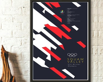 b329e543061 Winter Olympic Games Squaw Valley 1960 - Vintage Sport Poster Olympic Game  Poster Olympic Prints California Olympic Birthday Gift Idea