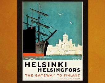 1940 Visit Helsinki Finland Vintage Style Travel Poster 24x36