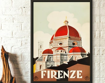 Florence Travel Poster - Italy Travel Poster Firenze Poster Trave Wall Art Italy Wall Decor Birthday Gift Idea Housewrming