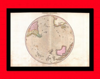 Map of the Southern Hemisphere South Pole Antarctic