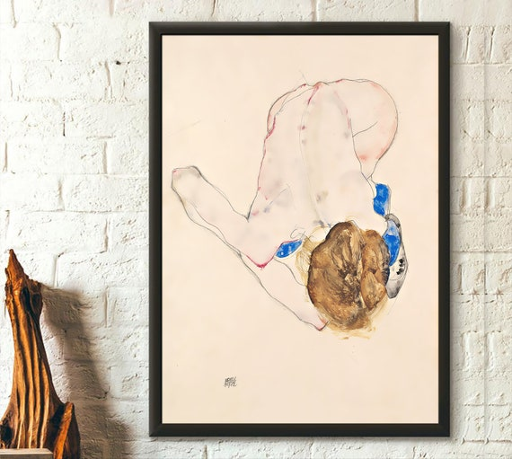 Girl in Blue Dress and Stockings by Egon Schiele Giclee Canvas Print
