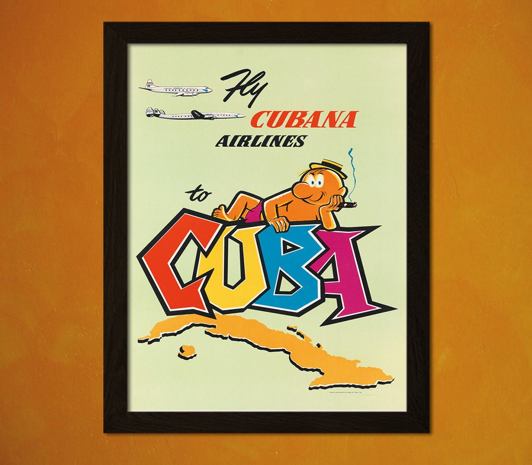 Cuba Travel Poster 50s Vintage Poster Retro Home Decorating | Etsy