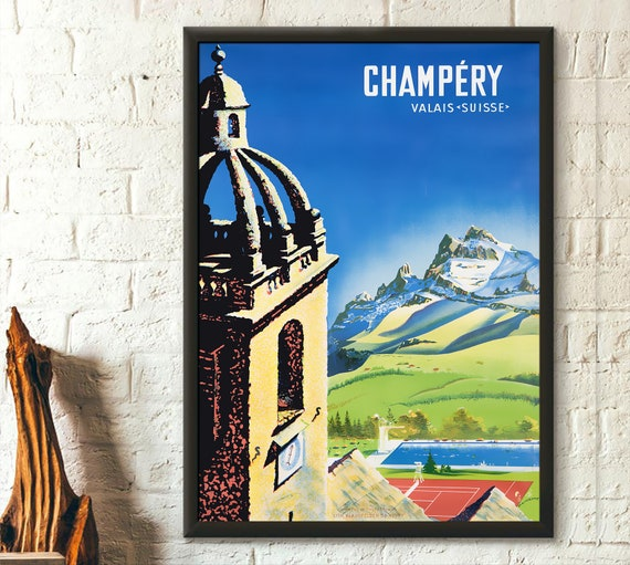 Switzerland Travel Print Champery Poster Vintage Travel Etsy