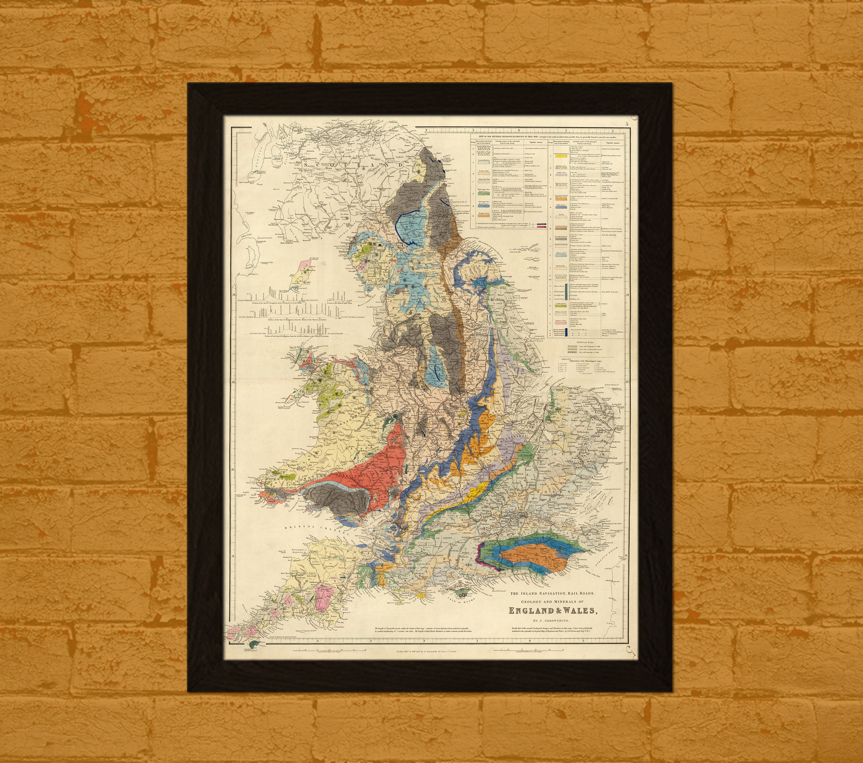 c7142f6e7199a Old Map Of England 1834 - Old Map Of Rail Roads Geology Map Antique ...
