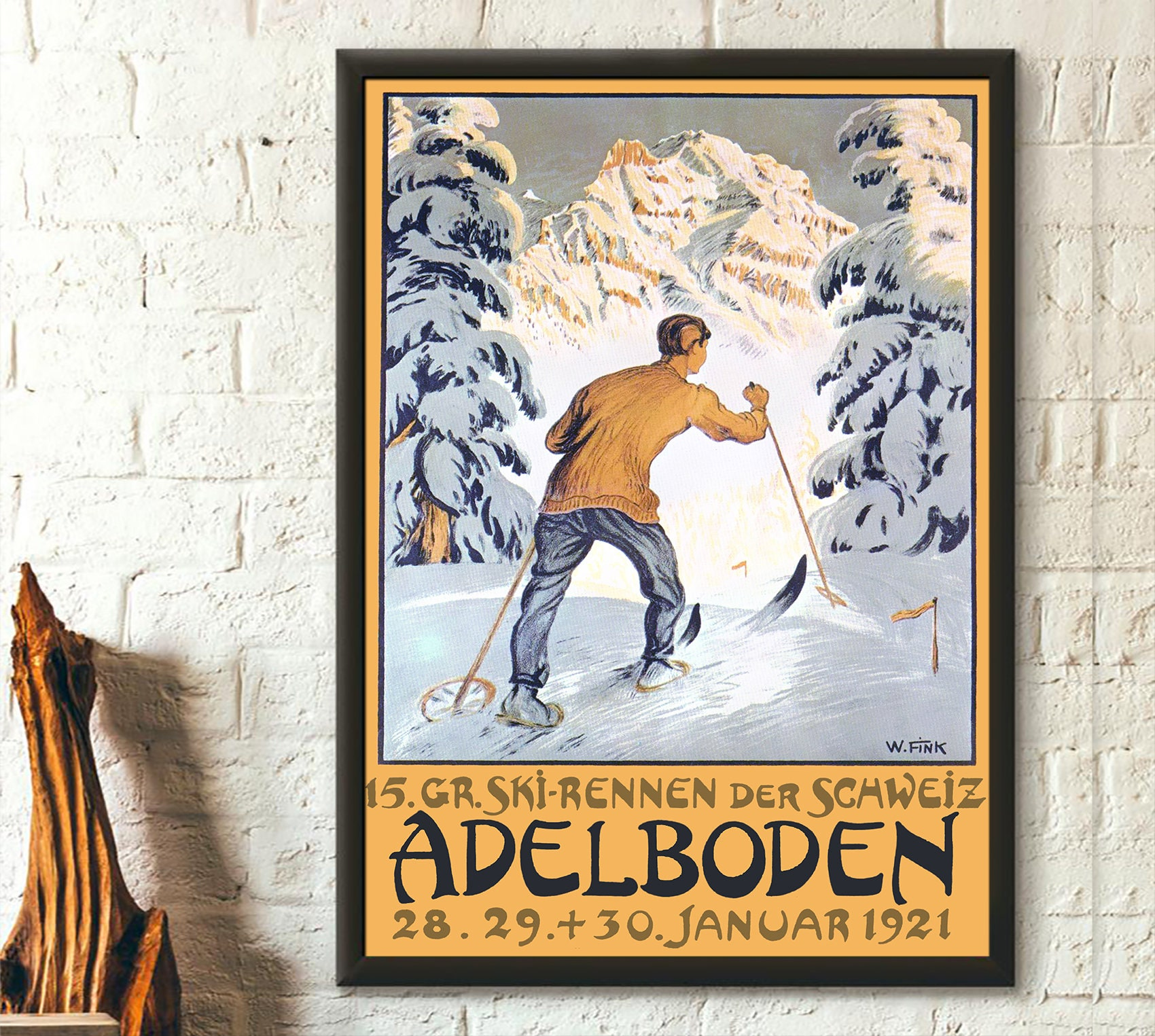 WALLIS SWITZERLAND Skiing Travel Art Old Poster A3 A4 Size