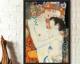 Gustav Klimt Art Print - Mother and Child - Klimt Prints Klimt Reproduction Housewarming Gift Idea Art Reproduction Nursery Decor