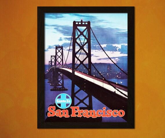 VintageTravel Poster-Reproduction San Francisco Bridge