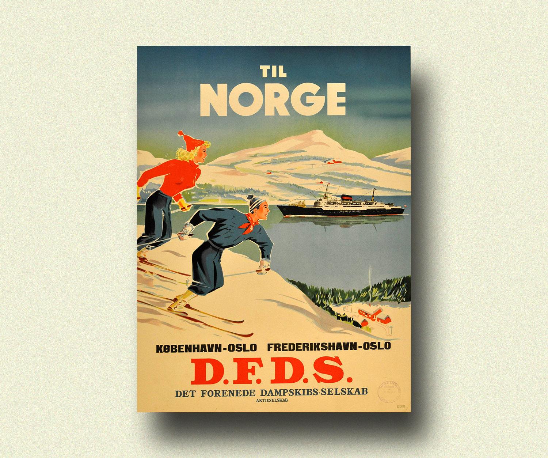 Vintage Norway Travel Print 1950s Norway Poster Vintage | Etsy