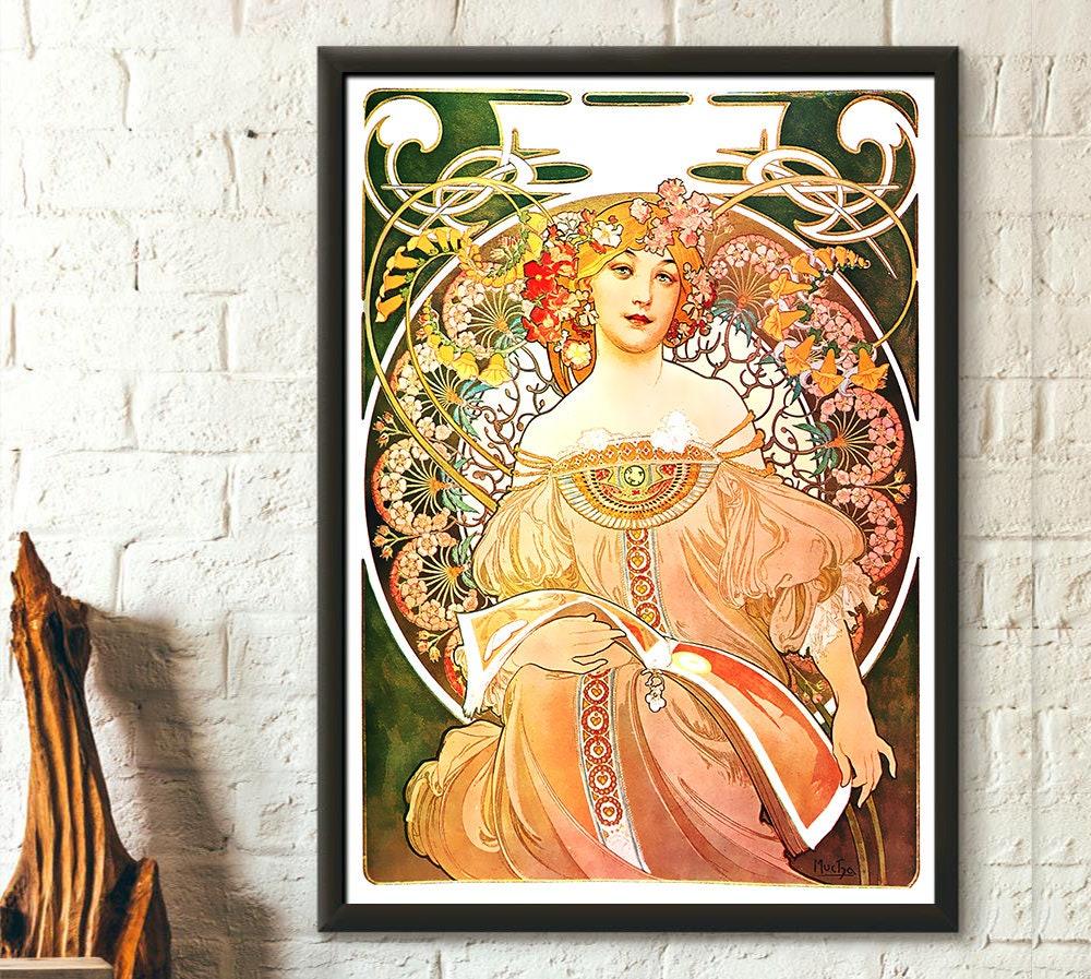 Print Alphonse Mucha Poster Art Nouveau Print Réverie 1897 ...