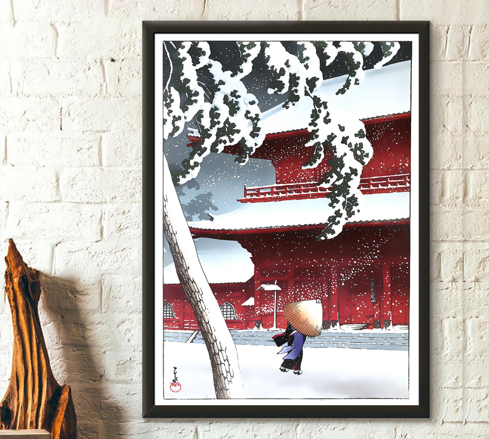Snow At Zojoji Temple Kawase Hasui Print Ukiyo E Poster