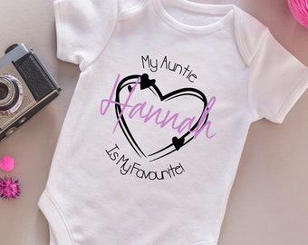 Born to Game like Uncle Baby Vest Auntie with personalised name pink//blue