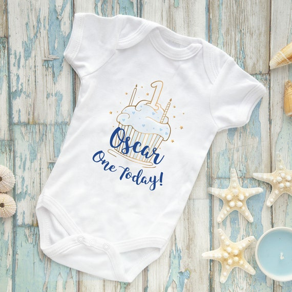 Boy Embroidered Baby Vest Gift Personalised First My 1st Birthday Cake