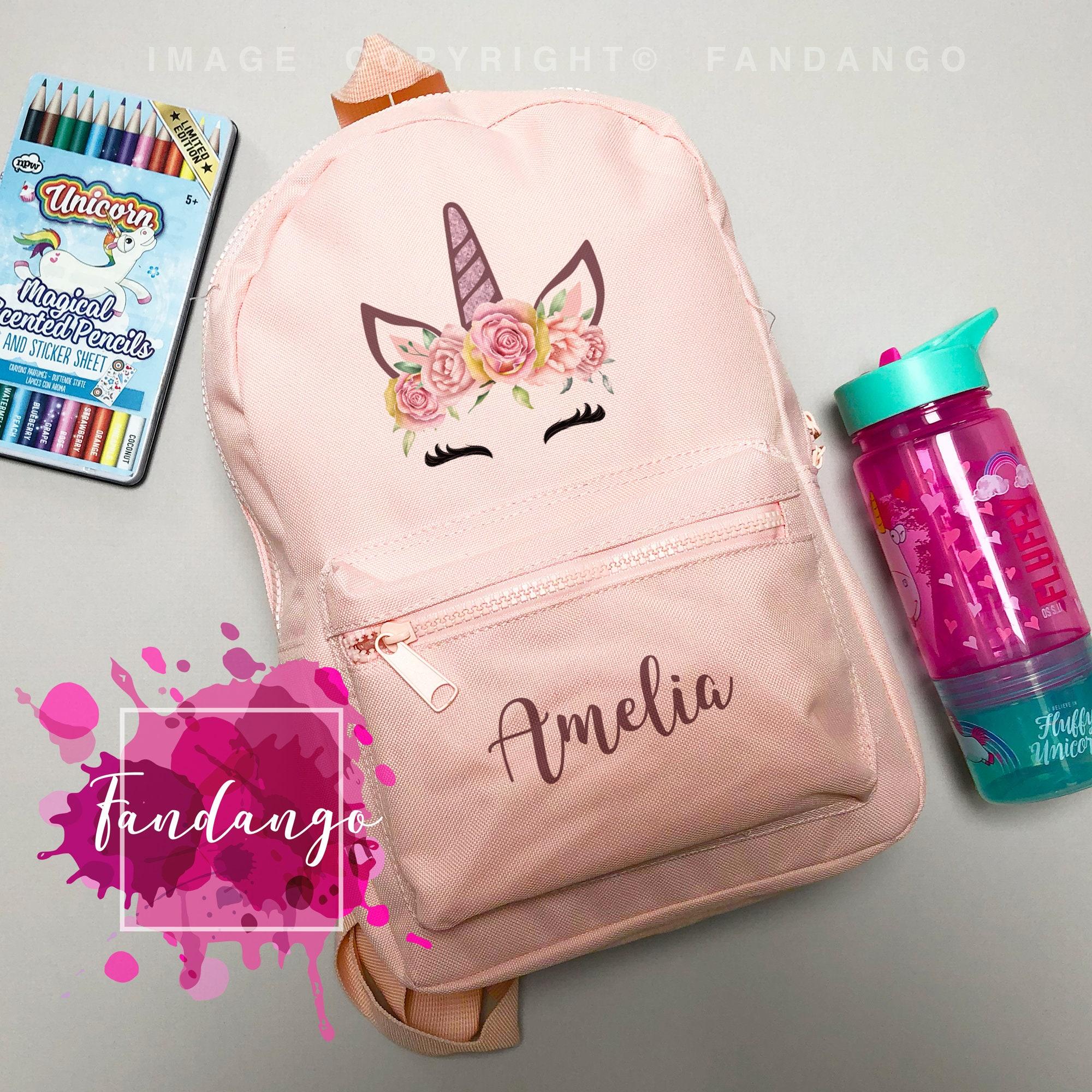 Personalised Kids Backpack Any Name Unicorn Girl Childrens Back To School Bag 8