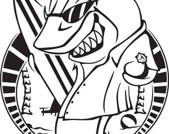 cartoon shark etsy rh etsy com Pajama Clip Art Black and White Toothbrush Clip Art Black and White