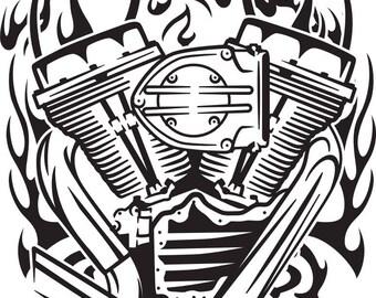 harley engine etsy Harley Shovelhead Motor motorcycle engine svg