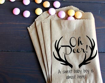 Oh Deer! Baby Shower Favor Bags, Treat Bags, Favor Bags - Kraft Paper Bags