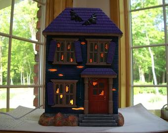 ceramic Halloween haunted house lighted