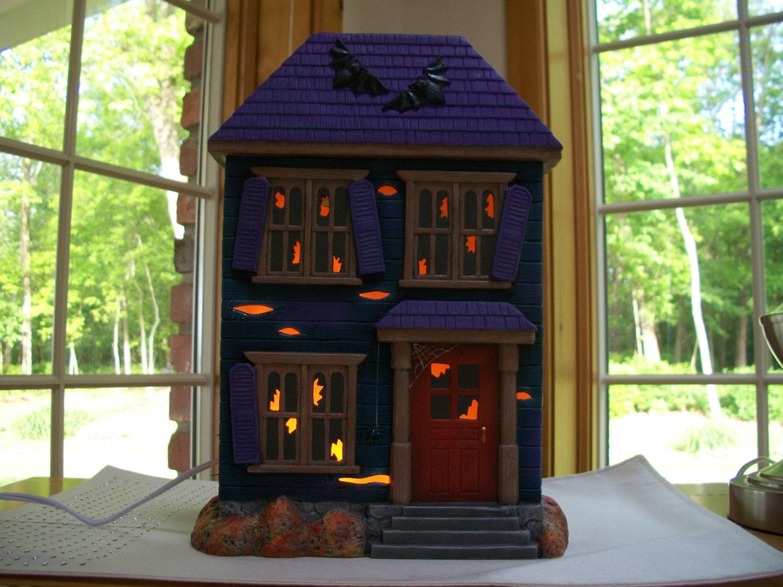 Ceramic Halloween Haunted House Lighted Halloween