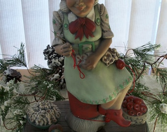 Ceramic Santa's Helper,Elf Lady