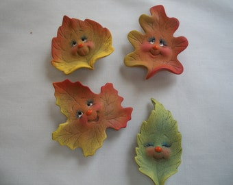 ceramic fall leaf refrigerator magnets set of 4,Halloween,decoration