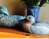 Ceramic duck decoy set of two wood duck ceramic