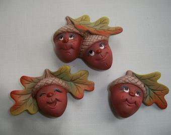 Ceramic Halloween,Fall acorn refrigerator magnets,set of 3