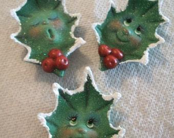 ceramic Christmas Holly holiday refrigerator magnets set of 3