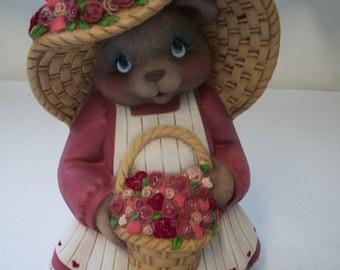 Ceramic Valentine Bear,Girl Bear holding basket flowers
