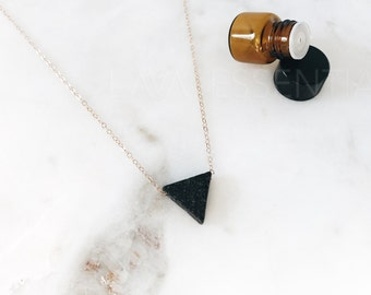 OG Lava Triangle Necklace, Essential Oil Diffuser Necklace, Oil Necklace, Aromatherapy Jewelry, Healing Stones, Triangle Lava Bead, Aroma