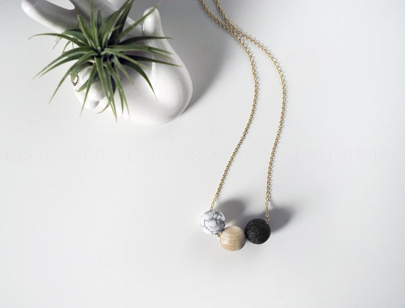 Aromatherapy Necklace 20 Lava Necklace Lava Essential Oil Necklace Oil Diffuser Wood Diffuser Necklace Marble Diffuser Necklace